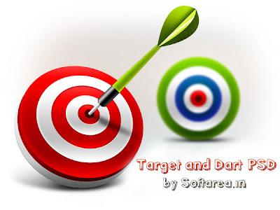 3D Target & Dart Icons (PSD)