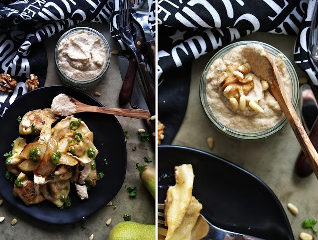 Tortellini gefüllt mit Walnüssen, Birne und Gorgonzola mit Walnuss-Birnen Pesto