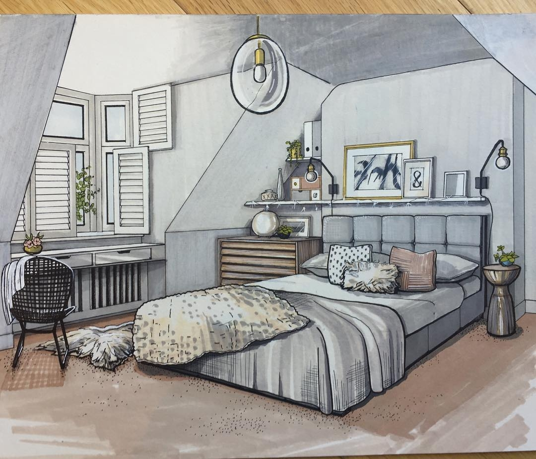 Interior Design Bedroom Drawing Creative Art