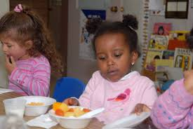 a child eating healthy food