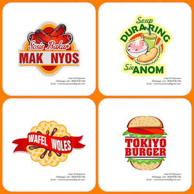 desain logo sosis bakar mak nyos