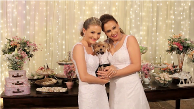 casamento real, casamento lgbt, casamento lésbico, cortina de led, mesa do bolo, cachorro pajem