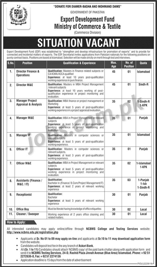 Pakistan Ministry of Commerce & Textile Jobs 2018 for 16+ Admin, IT, Finance, M&E, Office, Management & Support Staff