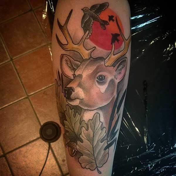vintage deer tattoo
