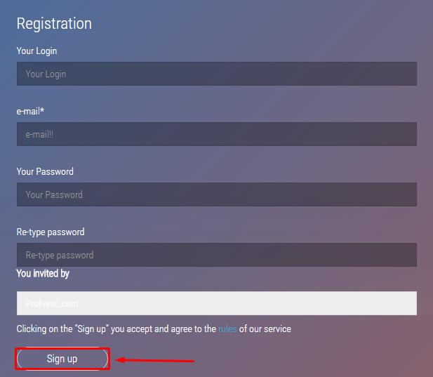 Регистрация в GigaHash Bit 2