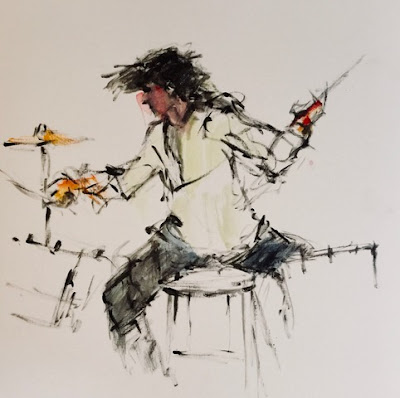 black acrylic drawing of drummer playing drums and touches of watercolor