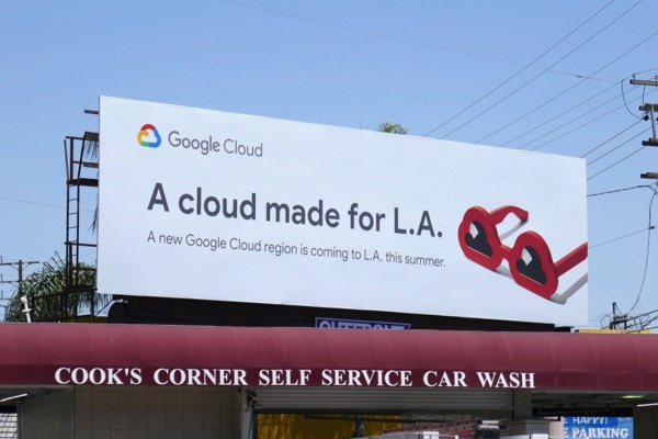 cloud made for LA Google Cloud sunglasses billboard