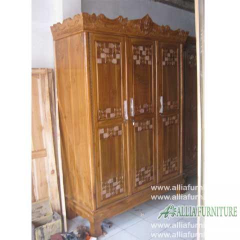 lemari pakaian kayu jati 3 pintu anggrek