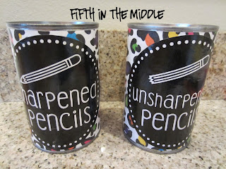 Metal cans labeled to hold sharpened and unsharpened pencils.