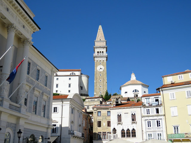 Cathedral tower in Piran viewed from Tartini Square