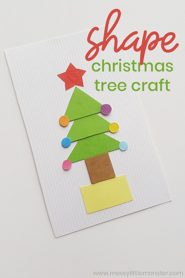 Christmas tree craft. Christmas shape activity for preschoolers and toddlers. An easy Christmas tree card craft.