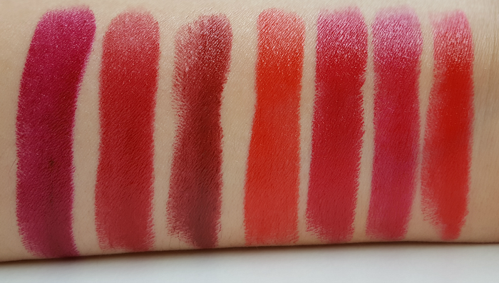 Swatches: AVON True Colour Perfect Reds Collection - Lipsticks - Cherry Jubilee - Scarlet Siren - Perfect Red - Poppy Love - Red 2000 - Berry Nice - Lava Love