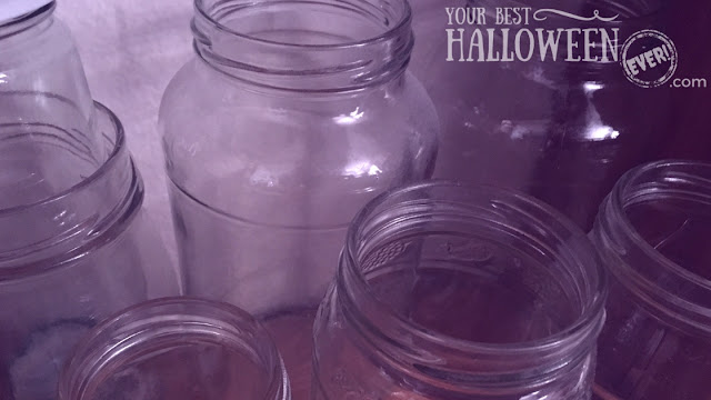 upcycle recycle Halloween craft ideas using bottles and jars, upcycled glass jars