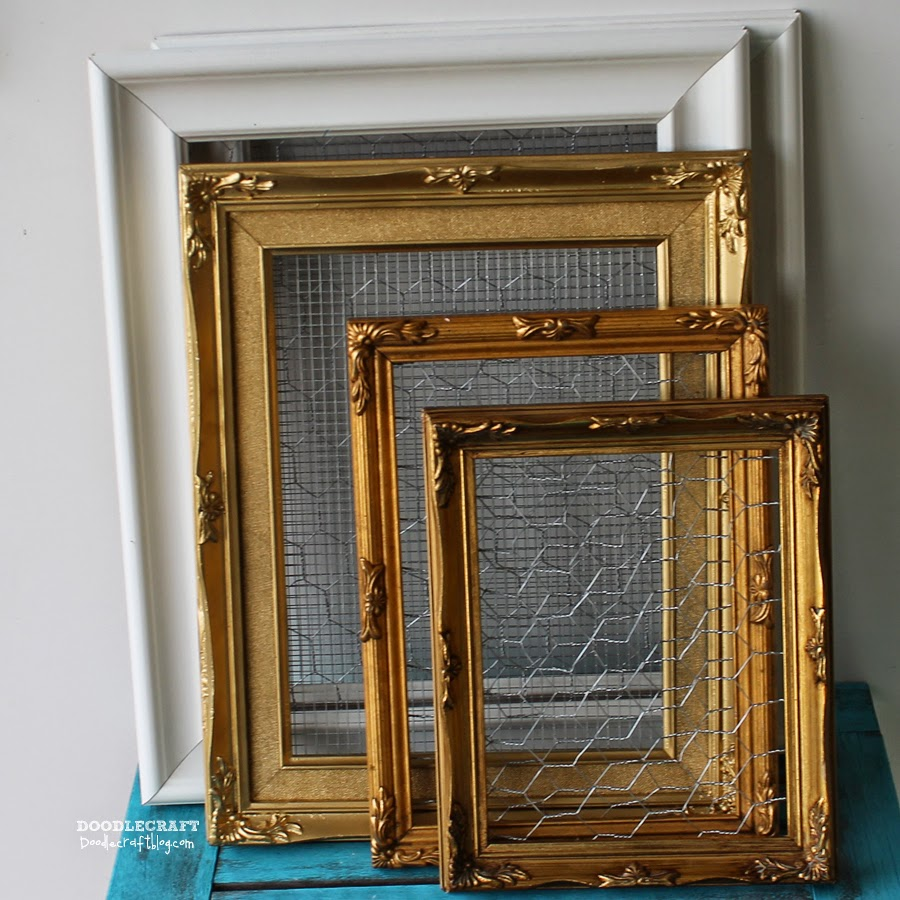 Doodlecraft: Chicken and Mesh Wire Vintage Picture Frames!