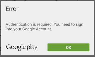 Google Play Authentication Required Error