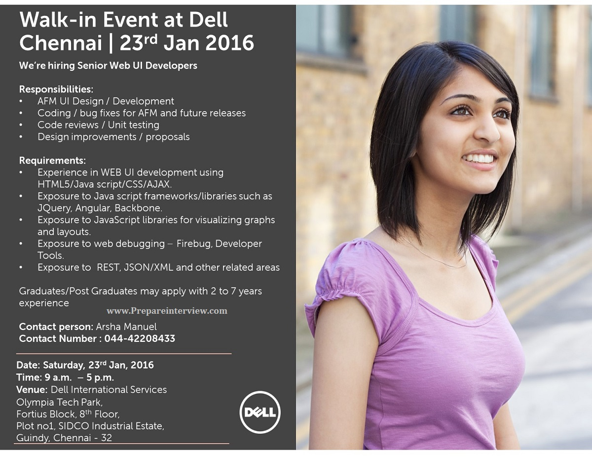 Dell Mega Walk-in Event for Software Engineers On 23rd Jan 2016
