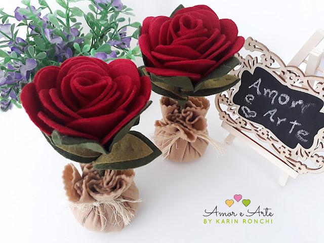 Rosas em feltro