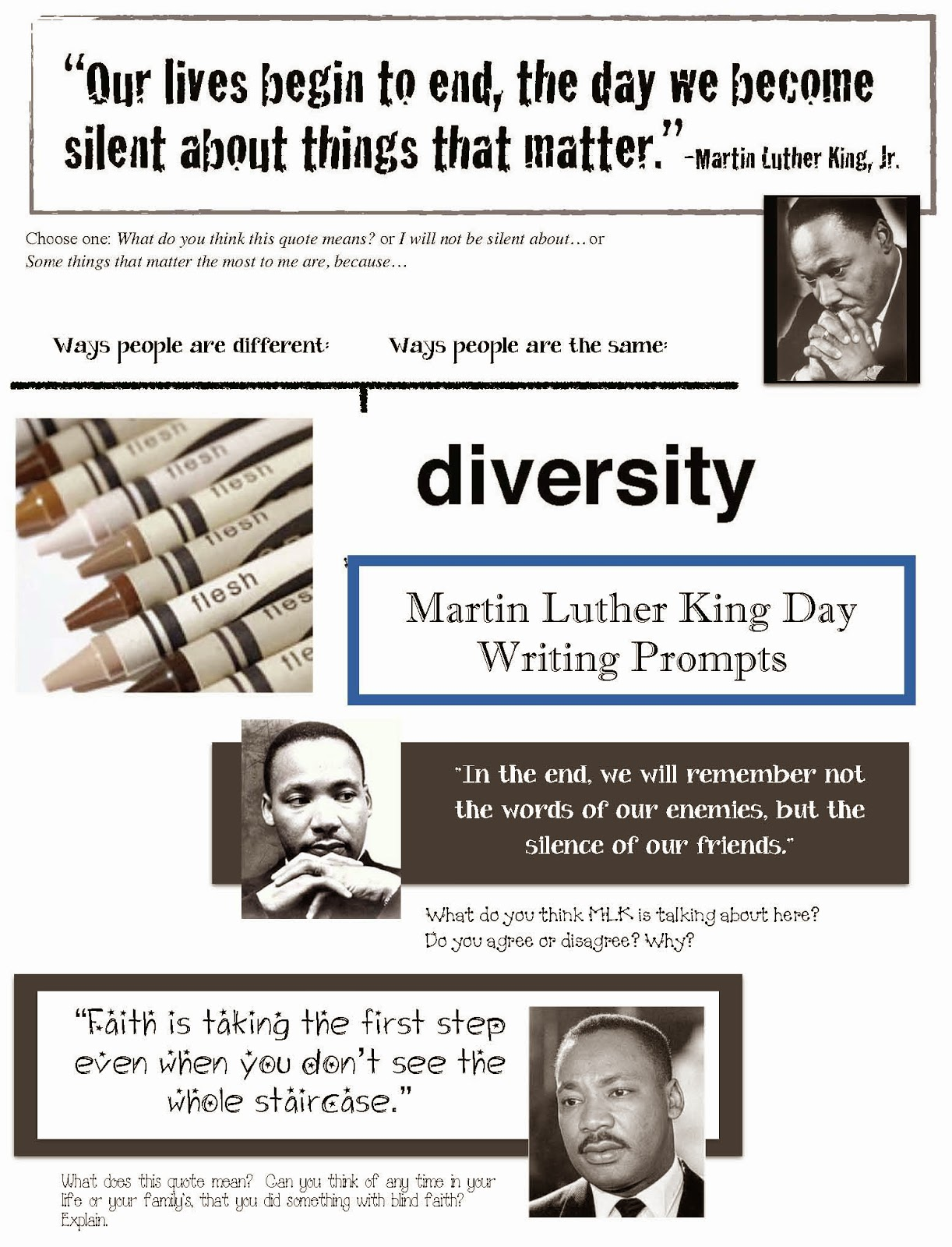 Classroom Freebies Martin Luther King Writing Prompts