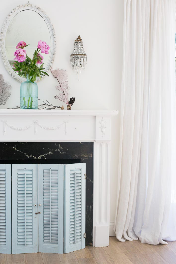 blue shutters mantel screen