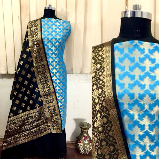 Black Dupatta Banarshi Dress Material - Vastra Fashion