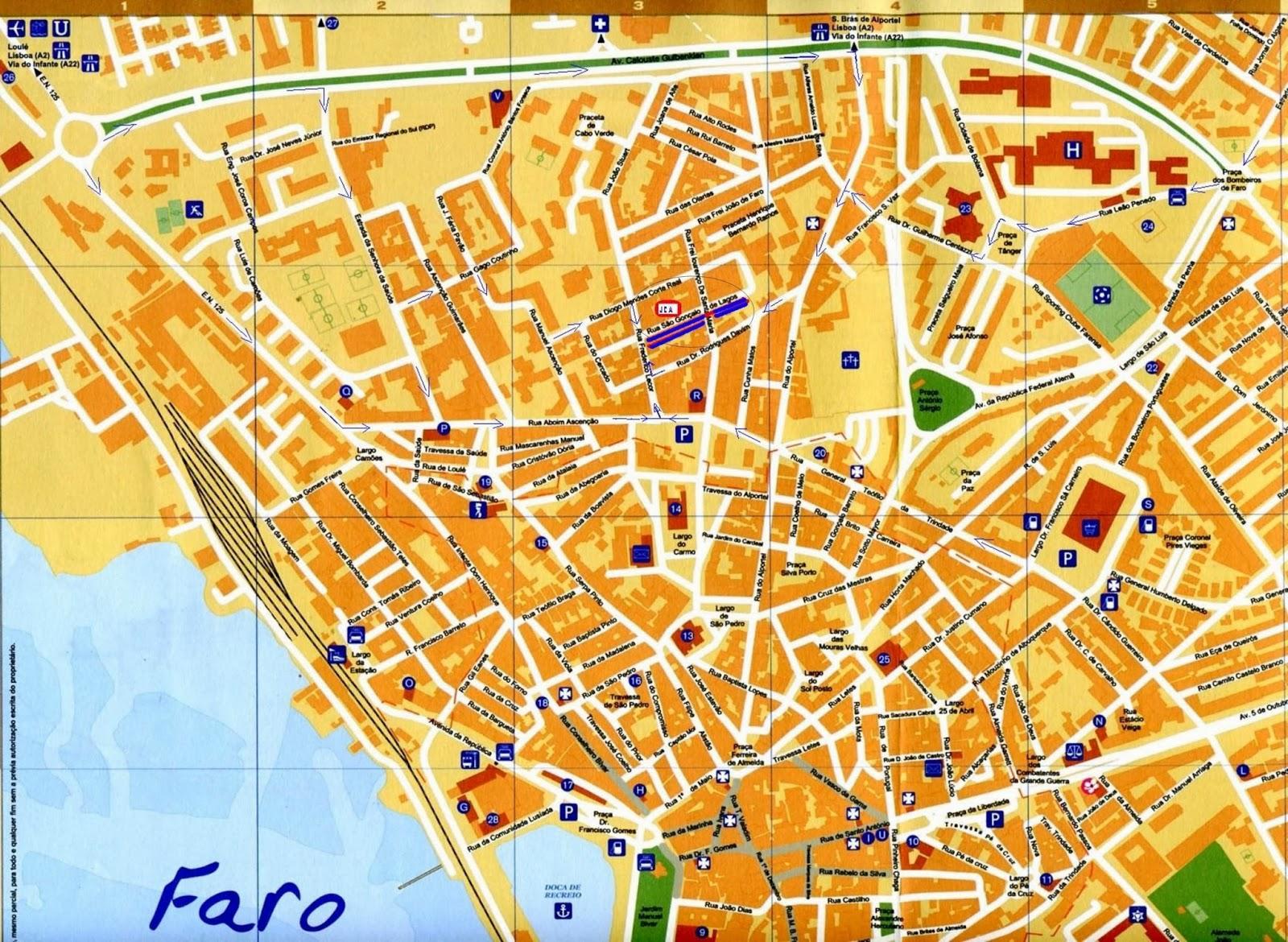 mapa de portugal continental praias Mapas de Faro   Portugal | MapasBlog mapa de portugal continental praias