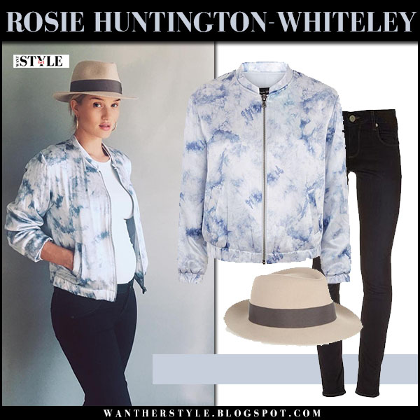 Rosie Huntington-Whiteley in light blue tie dye bomber jacket, black maternity jeans with brown fedora baby bump what she wore paige denim