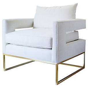 Gorgeous Midcentury Chair with Sophisticated Style! White Bevin Linen Chair from OKL!
