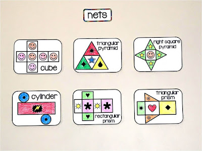 visuals of nets on a 6th grade math word wall