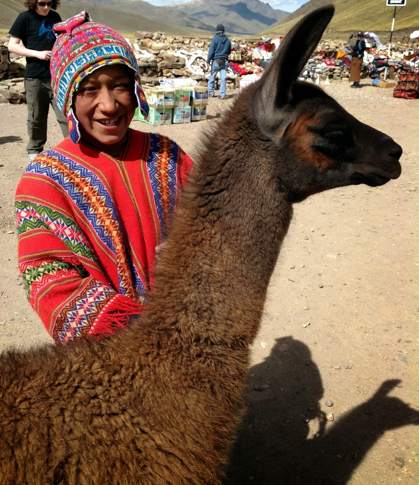 9d8f90cf7e700 Young boy wearing a traditional hat called a Chullo and poncho with his  llama at La Raya