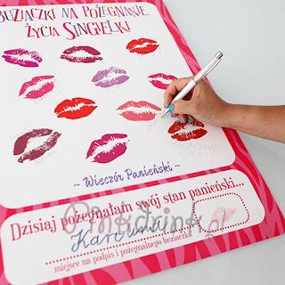 Pamiątki z wieczoru panieńskiego: plakat Buziaczki na wpisy dziewczyn