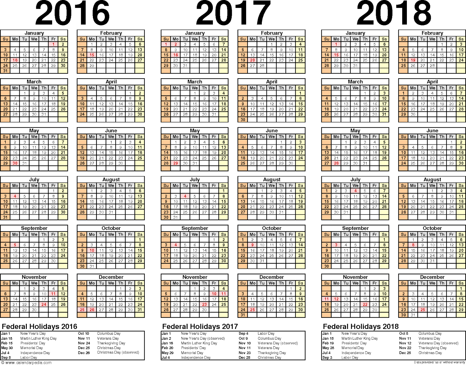2016/2017/2018 Calendar Word Excel Free Download, Three year calendars ...