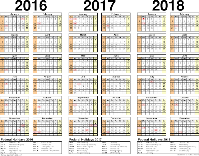 ... 2016/2017/2018 Monthly, 2016/2017/2018 Printable Calendar template
