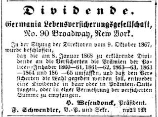 Dividenten-Anzeige des Jahres 1867