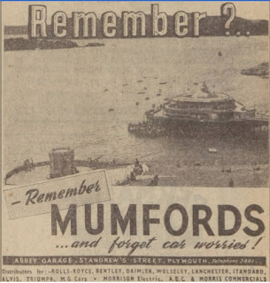 Mumfords of Plymouth  - Western Morning News, 4 November 1946, Triumph dealer advert