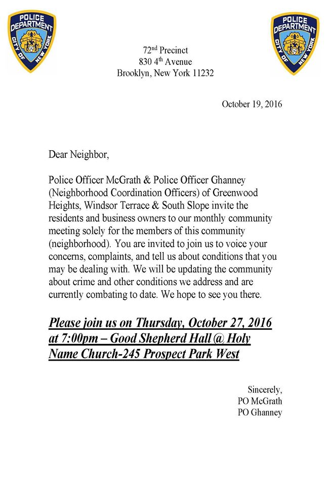 Karmabrooklyn blog police officers patrolling windsor terrace meeting with neighborhood coordination officers for windsor terrace thursday october 27th 700 pm stopboris Images