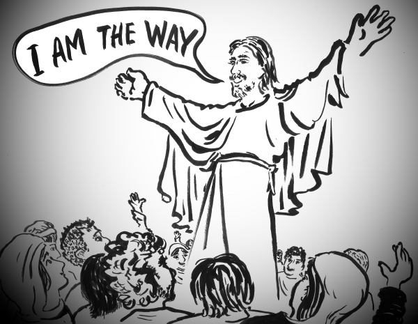Jesus telling the people I am the way - comic illustration by Joe Chiappetta
