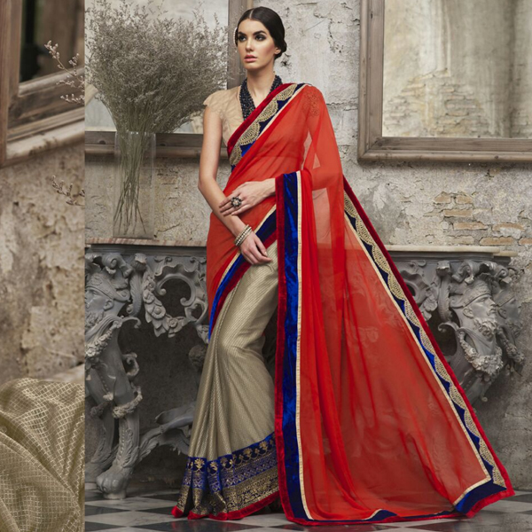 Red and gold colour party wear saree by Kaseesh Online