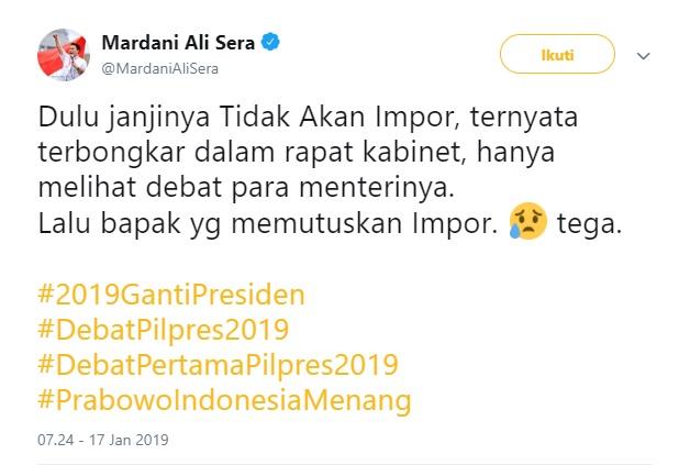 Jokowi Akui Putuskan Impor Beras, Tanggapan Mardani Ali Sera Langsung Viral