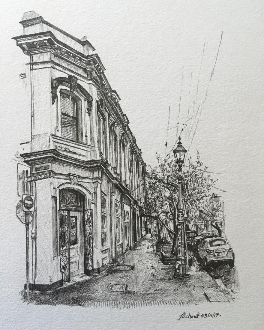 04-Fitzroy-Victoria-Julia-Schmitt-Visual-Diary-Ballpoint-Pen-Urban-Sketches-www-designstack-co