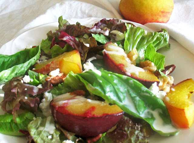 Roasted Fruit Salad with Creamy Goat Cheese Dressing