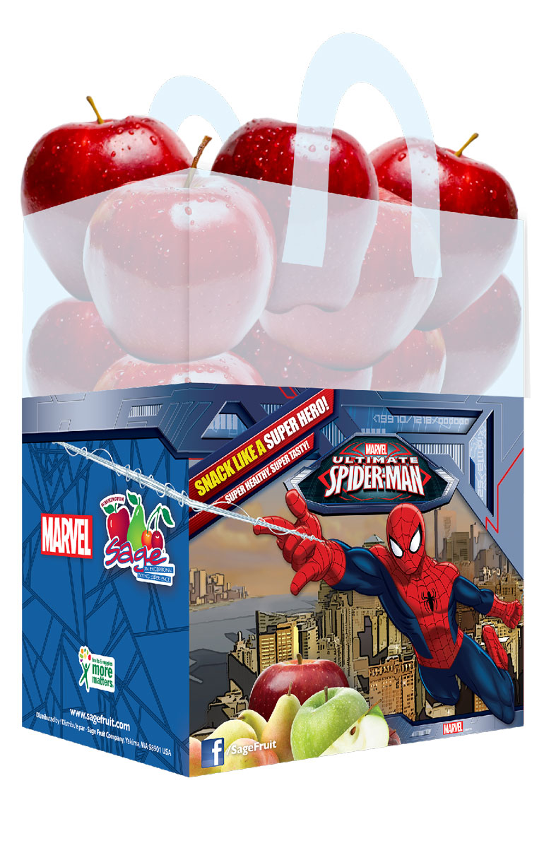 Marvel's Spider-Man-branded bagged apples by Sage are the latest additions and available now at grocery retailers nationwide.