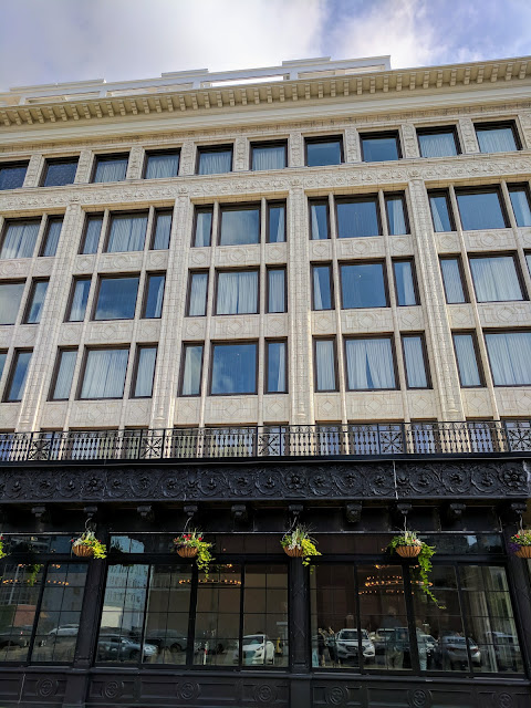 Facade of the historic Curtiss Building in Buffalo, New York