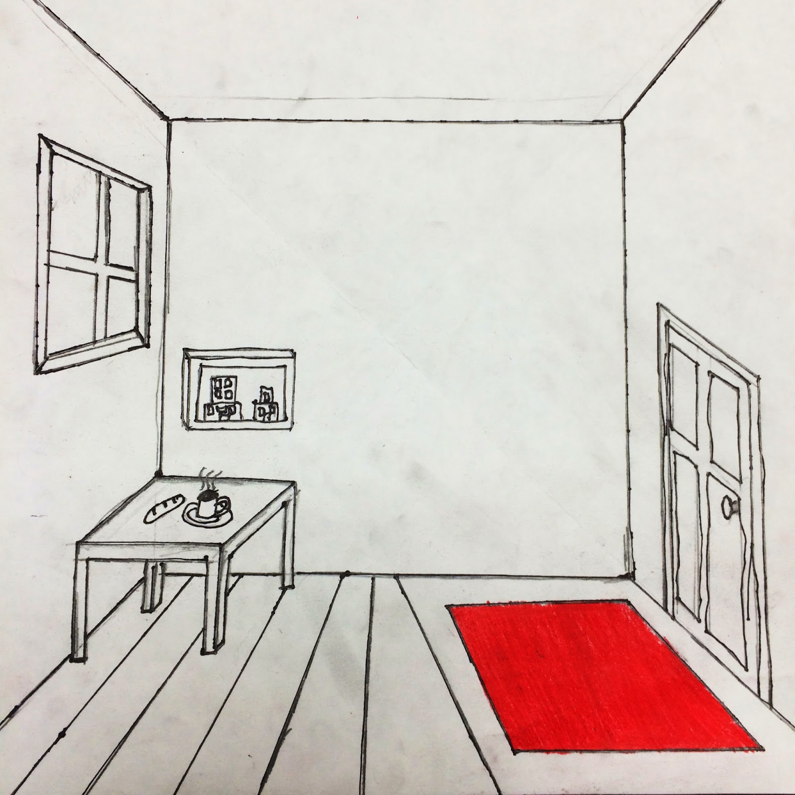 The helpful art teacher draw a surrealistic room in one - One point perspective drawing living room ...