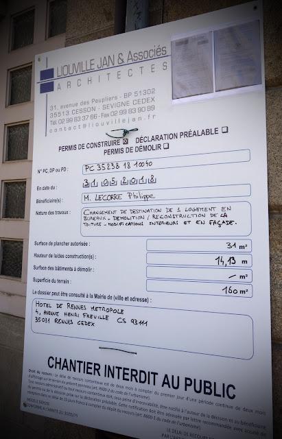 Permis de construire pour le 6 rue des Francs Bourgeois pour l'Hôtel de Rennes Métropole...