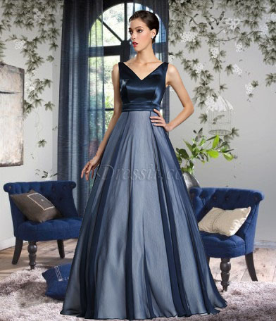 56e004d313 dark blue floor length ball evening dress