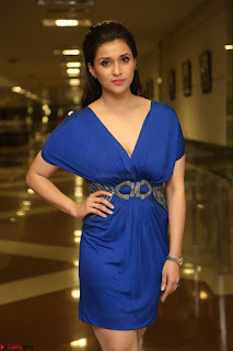 Mannara Chopra in Short Blue Dress at Rogue Movie Teaser Launch 1st March 2017 056.JPG