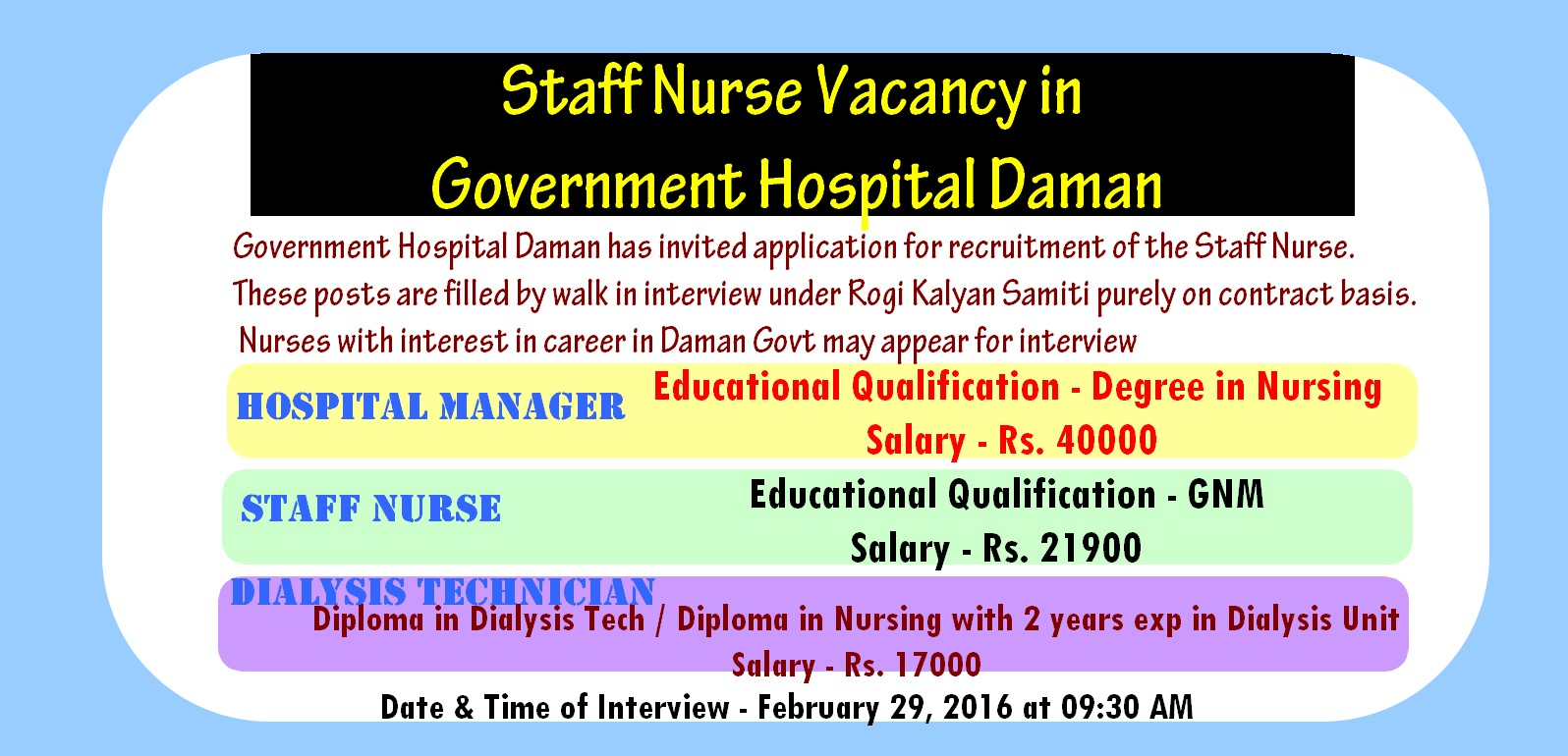 staff nurse vacancy in government hospital daman  government hospital daman has invited application for recruitment of the staff nurse these posts are filled by walk in interview under rogi kalyan samiti