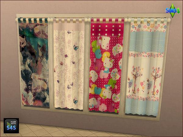 betten mit bettw sche und gardinen f r kinder beds with beddings and curtains for kids. Black Bedroom Furniture Sets. Home Design Ideas