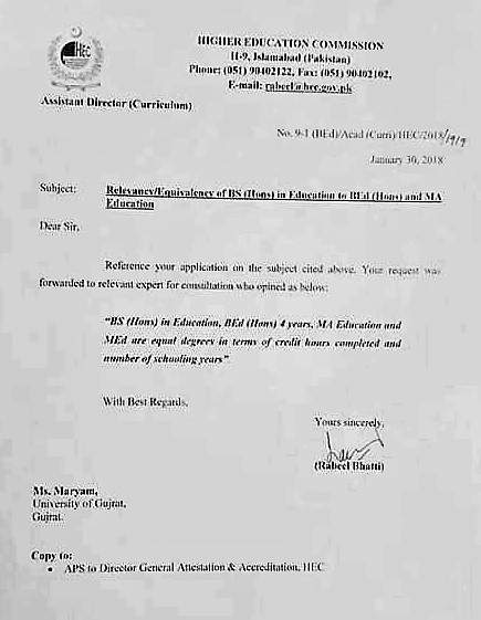 RELEVANCY & EQUIVALENCY OF BS(HONS) IN EDUCATION TO B.ED (HONS) AND MA EDUCATION BY HIGHER EDUCATION COMMISSION, PAKISTAN