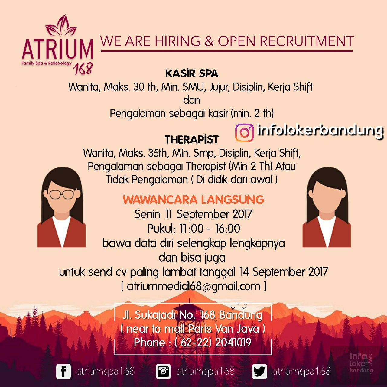 Lowongan Kerja Atrium 168 Bandung ( Walk In Interview ) September 2017